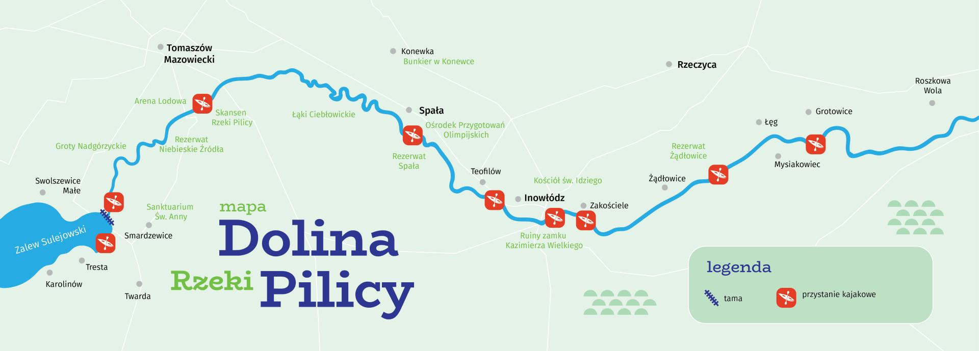 Mapa szlaku doliny rzeki Pilicy